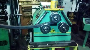 One of my rockers is finishing its final bend. This machine has a limit of 2 in diameter metal.