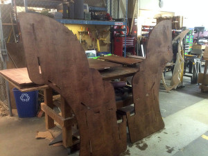 Skeeball backfield pieces after staining