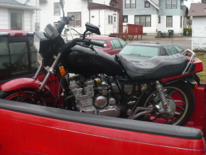 motorcycle in pickup bed after purchase